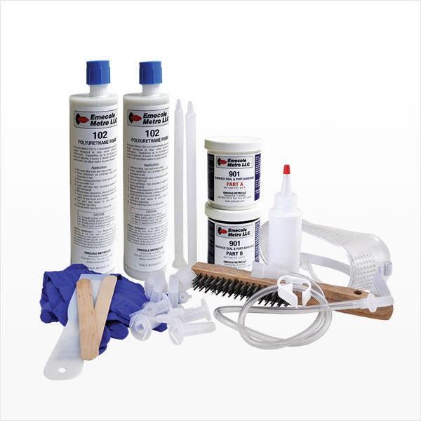 10 pies. Kit de inyección de poliuretano para la reparación de grietas en la pared del sótano