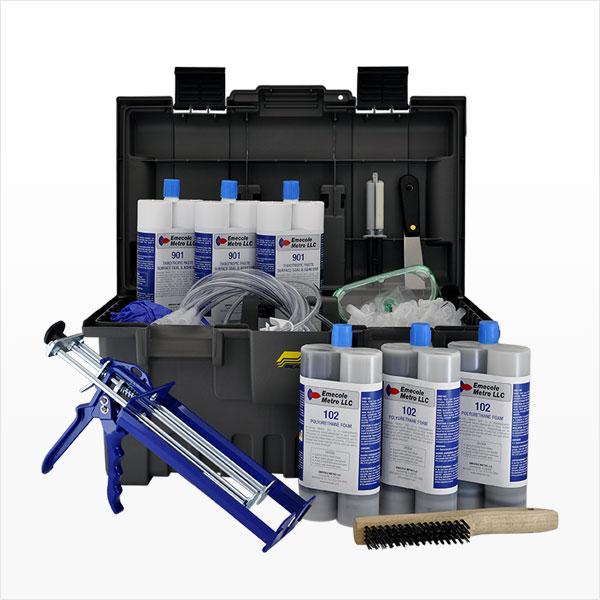 30 pies. Kit de inyección de poliuretano para la reparación de grietas en la pared del sótano